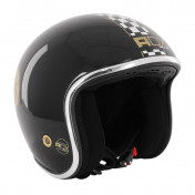 HELMET-OPEN FACE ADX LEGEND (CHEQUERED) GLOSSY BLACK XS