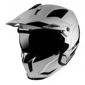 HELMET - FOR TRIAL - MT STREETFIGHTER SV SKULL- SOLID CHROME/SILVER - SINGLE DARK VISOR- WITH REMOVABLE CHIN GUARD + ADDITIONAL MIROR VISOR - XL.