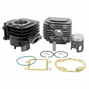 COMPLETE CYLINDER KIT FOR SCOOT TOP PERF CAST IRON FOR MBK 50 BOOSTER, STUNT/YAMAMA 50 BWS, SLIDER (BLACK TROPHY)