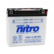 BATTERY 12V 5,5 Ah 12N5.5-4B NITRO WITH MAINTENANCE (Lg138X wd61xH131mm)