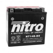 BATTERY 12V 12 Ah NT14B-BS NITRO MF MAINTENANCE FREE WITH ACID PACK (Lg150x wd70xH145mm) (EQUALS YT14-B4)