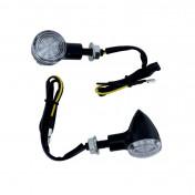 CLIGNOTANT A LED MOTO AVOC CHIBA FUME/NOIR (L 40mm / H 35mm / L 40mm) (HOMOLOGUE CE) (PAIRE)