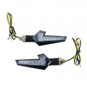 CLIGNOTANT A LED MOTO AVOC SAKAI 12 LEDS BASE ABS TRANSPARENT/NOIR (L 110mm / H 35mm / L 90mm) (HOMOLOGUE ECE) (PAIRE)