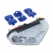 FEU ARRIERE 50 A BOITE/MOTO REPLAY A LEDS TRIANGLE AVEC ECLAIRAGE DE PLAQUE (6 LEDS ROUGES + 3 BLANCHES) -HOMOLOGUE CE-