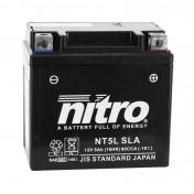 BATTERIE 12V 5 Ah NT5L NITRO SLA SANS ENTRETIEN PRETE A L'EMPLOI (Lg114xL71xH106mm) (EQUIVALENT YTC5L-BS) (PEUGEOT 50 KISBEE 4T)
