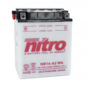 BATTERIE 12V 14 Ah NB14-A2 NITRO CONVENTIONNELLE AVEC ENTRETIEN (Lg134x89x166)