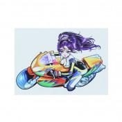 AUTOCOLLANT/STICKER MERYT DESSIN GIRL SUR SPORTIVE (11,4x7,9cm)