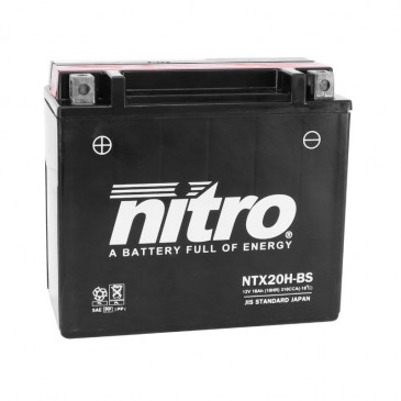 BATTERIE 12V 18 Ah YTX20H-BS NITRO MF SANS ENTRETIEN LIVREE AVEC PACK ACIDE (Lg175xL87xH155)