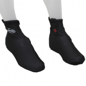 CYCLING SHOE COVER- (WINTER)- BLACK L (ZIP + VELCRO TAPE) (PAIR)