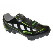 ATB CYCLING SHOE- GES RIDER BLACK/GLOSS FLUO GREEN - EURO 41 -BOA CLOSURE SYSTEM- COMPATIBLE WITH SPD CLEATS (PAIR)