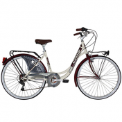 "CITY BIKE 26"" CINZIA LIBERTY STEEL ""LADY"" 6 SPEED CREAM/DARK RED SIZE 44 (SHIMANO RS-35+TY-21)"
