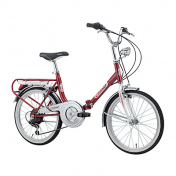 "FOLDING BIKE 20"" CINZIA FIRENZE STEEL 6 SPEED RED SIZE 31 (SHIMANO RS-35+TY-21)"
