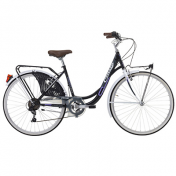 "CITY BIKE 26"" CINZIA LIBERTY STEEL ""LADY"" 6 SPEED BLACK/WHITE SIZE 44 (SHIMANO RS-35+TY-21)"