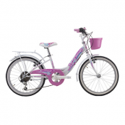 "CITY BIKE 20"" JUMPERTREK CANDY STEEL ""GIRL"" 6 SPEED WHITE SIZE 28 WITH BASKET(SHIMANO RS-35+TY-21)"