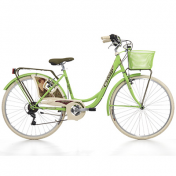 "CITY BIKE 26"" CINZIA BELLE EPOQUE STEEL ""LADY"" 6 SPEED GREEN MELA SIZE 44 (SHIMANO RS-35+TY-21)"
