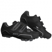 ATB CYCLING SHOE- GES URKO BLACK-EURO 41 -TRIPLE HOOK AND LOOP STRAPS- COMPATIBLE WITH SPD CLEATS (PAIR)