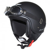 HELMET-OPEN FACE MT CUSTOM RIDER MATT BLACK S (SOLD WITH GOGGLES)