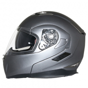 HELMET- FLIP-UP MT FLUX DOUBLE VISORS GREY TITANIUM MAT L