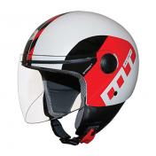 HELMET-OPEN FACE MT STREET METRO WHITE/BLACK/RED GLOSSY S