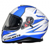 CASQUE INTEGRAL MT THUNDER 3 SV EFFECT NACRE BLANC BLEU BRILLANT L DOUBLE ECRANS PINLOCK READY