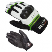 GLOVES ADX - MID SEASON XRUN BLACK/WHITE/GREEN T 6 (XXS) - EPI APPROVED CATEGORY 2- (LEATHER+TEXTILE +PROTECTION SHELL)