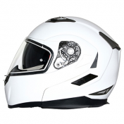 HELMET- FLIP-UP MT FLUX DOUBLE VISORS WHITE GLOSSY XL