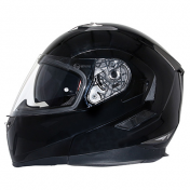 HELMET- FLIP-UP MT FLUX DOUBLE VISORS BLACK GLOSSY L