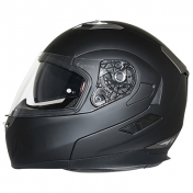HELMET- FLIP-UP MT FLUX DOUBLE VISORS BLACK MAT S