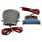 DECORATIVE LIGHTNING REPLAY (UNDER FLOOR BOARD) CHROME WITH BLUE LEDS (PAIR) **