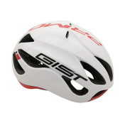 CASQUE VELO ADULTE GIST ROUTE PRIMO BLANC/ROUGE FULL IN-MOLD TAILLE 56-62 REGLAGE MOLETTE 250GRS